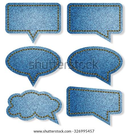 empty speech bubble blue denim jean texture background - stock photo