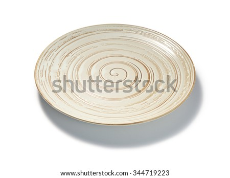 empty spiral pattern plate on white background - stock photo