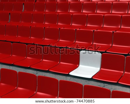 Empty stadium chairs, representing individuality - 3d illustration - stock photo