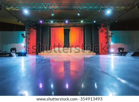 Empty stage and dance floor - stock photo