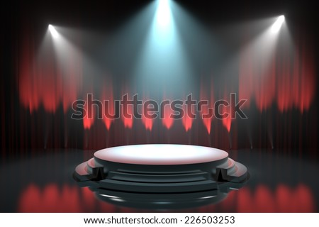 Empty stage podium with red curtains  - stock photo