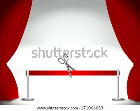 Empty stage, red ribbon cutting pair of scissors - stock photo