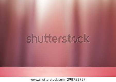 Empty stage with blur background of curtain wall soft maroon color - stock photo