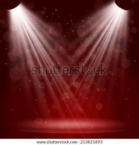 Empty stage with lights on red background. raster version. - stock photo