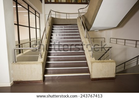 Empty stair way in a college - stock photo