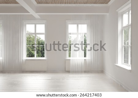 Empty stark white monochrome spacious interior of a loft room surrounded by windows letting in bright daylight with structural ceiling beams.  3d Rendering - stock photo