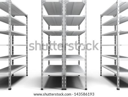 empty store shelving - stock photo