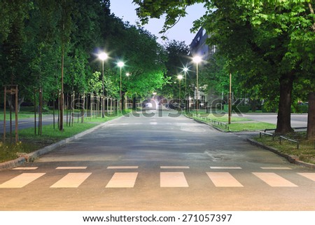 Empty street at night - stock photo