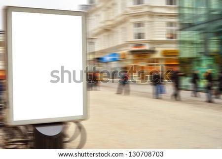 Empty street billboard in motion blur - stock photo