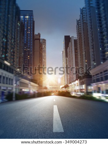 empty street, city in china - stock photo