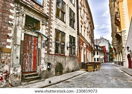 Empty street in Old Riga, Latvia.  - stock photo