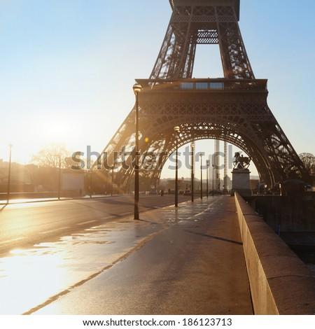 empty street in Paris, France - stock photo