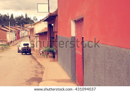 Empty street in typical village in Andes. Peru. - stock photo