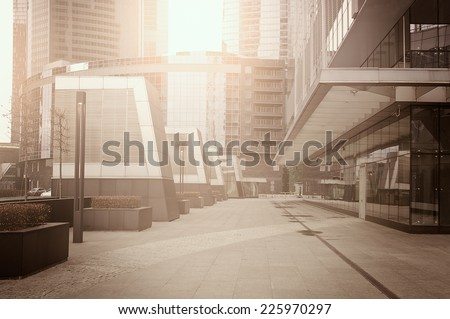 Empty streets of the business city center at sunrise time.  - stock photo