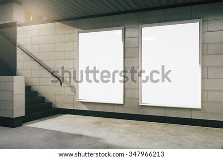 Empty subway hall with blank banners, mock up 3D Render - stock photo
