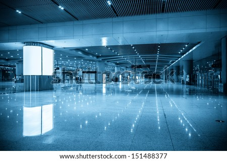 empty subway passage in transportation hub - stock photo