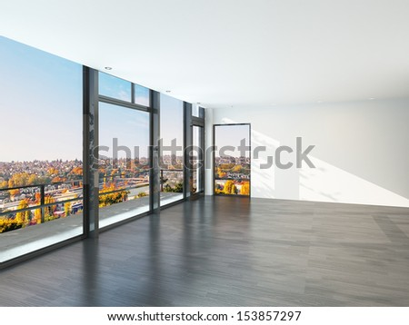 Empty sunny room with large windows and scenic view.  - stock photo