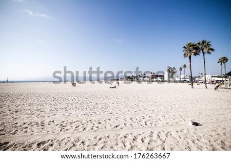 Empty sunny Venice Beach in Los Angeles, California - stock photo