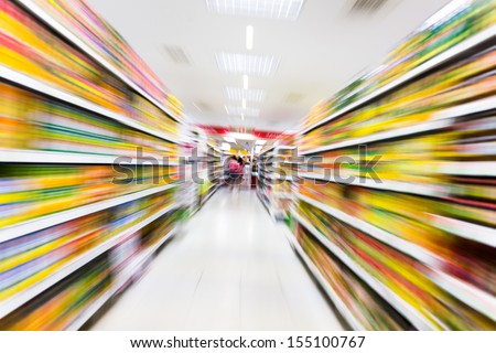 Empty supermarket aisle,motion blur - stock photo