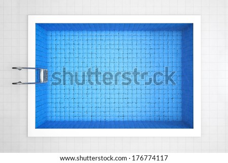 Empty Swimming Pool Top View on a tiles background - stock photo