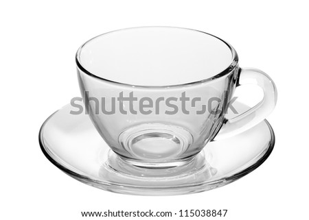 empty tea cup and saucer with isolated on white - stock photo