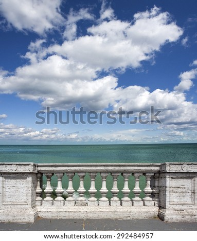 empty terrace overlooking the sea with concrete balustrade.with clipping path - stock photo