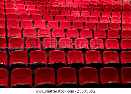 empty theatre theater auditorium cinema or conference hall. - stock photo