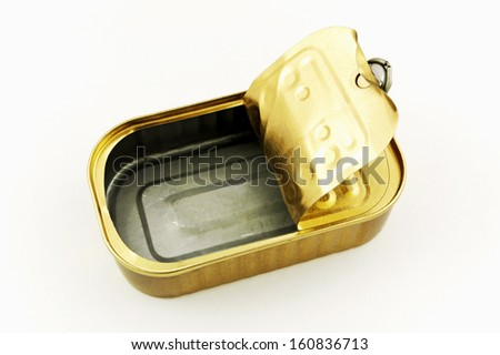 Empty tin can isolated - stock photo