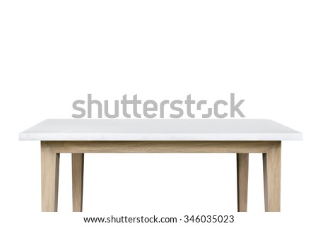 Empty top of granite stone table isolated on white background. For product display - stock photo