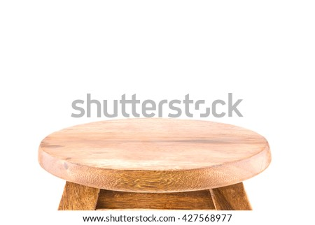 Empty top view wooden table on white background meaning for product display, include clipping path - stock photo