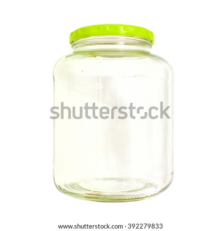 Empty transparent bottle jar isolated on white background for preserves pickles or jam  - stock photo