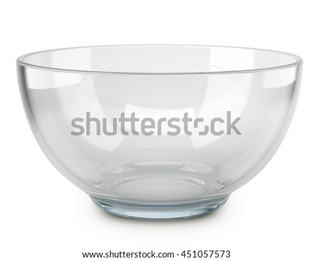 Empty transparent glass cooking bowl isolated on white background. 3D rendering of the salad-dish. - stock photo