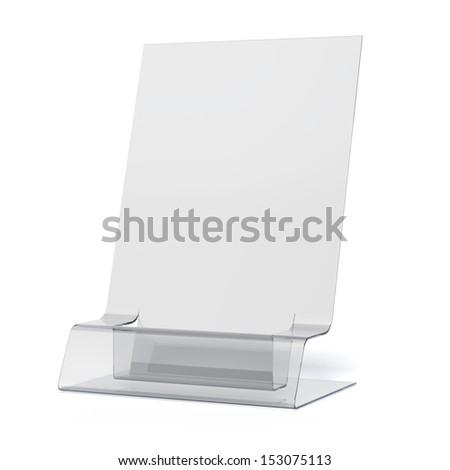empty transparent holder for leaflets - stock photo