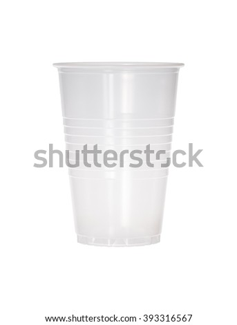 Empty transparent plastic cup isolated on white. - stock photo