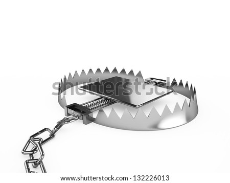 Empty trap with a chain, isolated on a white background - stock photo