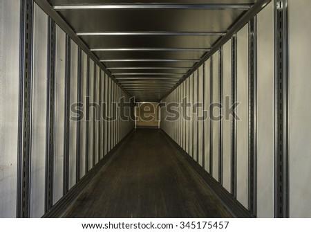 Empty truck trailer - stock photo