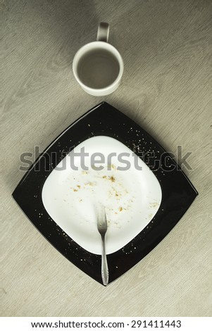 Empty two plates from cakes with forks - stock photo