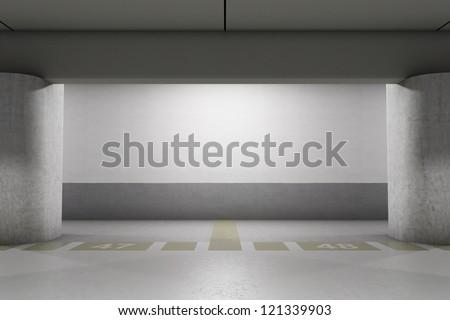 Empty underground parking area - stock photo