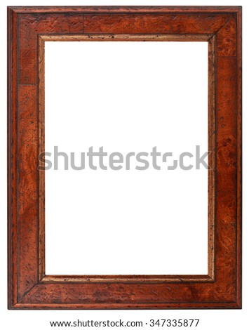Empty Vertical Wooden Picture Frame - stock photo