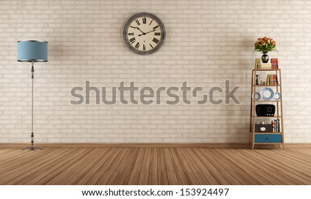 Empty vintage room with little bookshelves and brick wall - rendering - stock photo