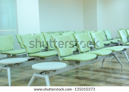 Empty waiting chair in the hospital - stock photo