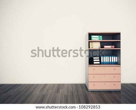 Empty wall office. 3d image. - stock photo