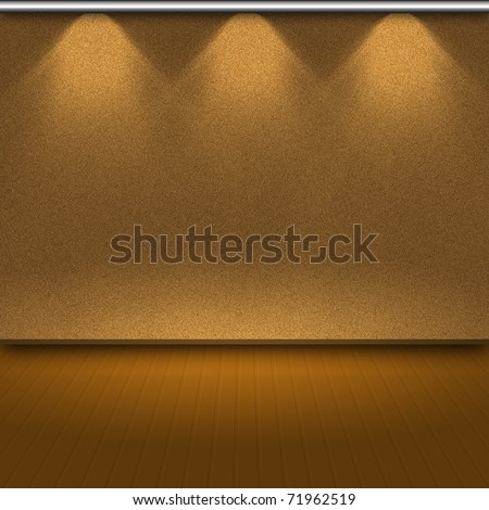 Empty wall with 3 spot lights and wooden floor - stock photo