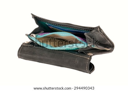 Empty wallet against a white background  - stock photo