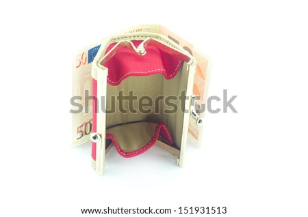 Empty wallet and banknote behind on white background - stock photo