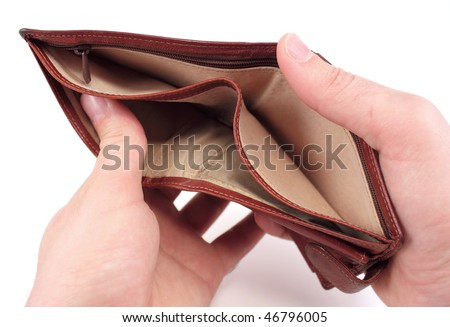 Empty wallet isolated on white. Bankruptcy concept. - stock photo