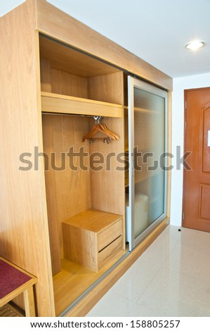 Empty Wardrobe wood for clothes - stock photo