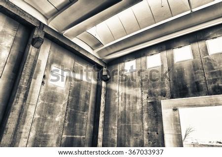 Empty warehouse under construction. - stock photo