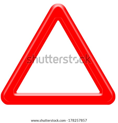 Empty warning road sign isolated on white 3D - stock photo