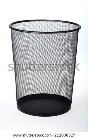 Empty Wastepaper Basket Isolated on White Background - stock photo